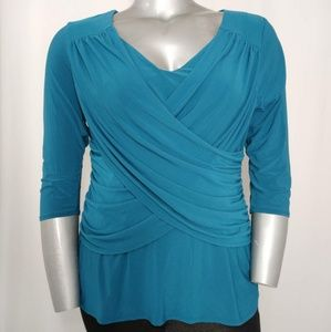 NYC B-Slim Blouse 3/4 Sleeve Stretch Drape Teal 1X